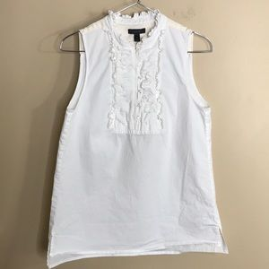 J crew white sleeveless ruffle collar top